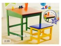Kids World Wooden Desk and Stool