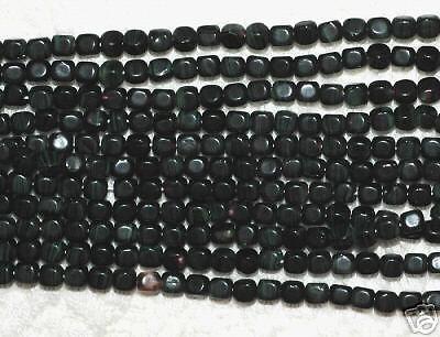 (*SSM* Mini-Cube Beads 4mm Czech -- Jet Green (50))