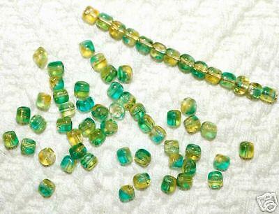 (*SSM* Mini-Cube Beads 4mm Czech -- Aqua Jonquil (50))