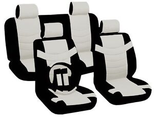 Car Seat Covers Classic Accent Black White PU Leather
