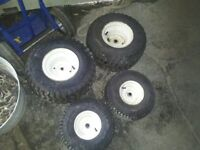 riding lawnmower tires & rims all in good cond & hold air