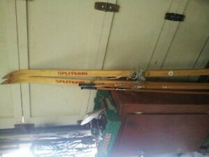 antique wooden skiis in great cond with poles