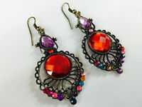 Pair of Antique style Multi Colour Crystal Hook Earring - JTY487