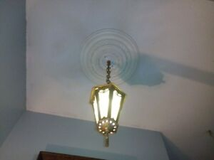 ANTIQUE STAINED GLASS LANTERN  FIXTURE 'PRICE LOWERED'