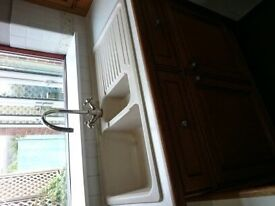 Carron Phoenix Granite inset sink in champagne colour and brass tap