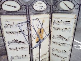 Bespoke Hand Crafted Screen and Music Stand. Hand painted panels.