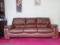 three seater sofa brown leather