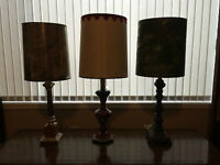 Vintage Table Lamps Circa 1970's with Shades