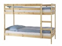 Ikea bunk bed (£80) and 1 Ikea single size sprung mattress (£70). Nearly new. Separately or together