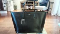 Real leather black tote • Cabas cuir Ralph Lauren