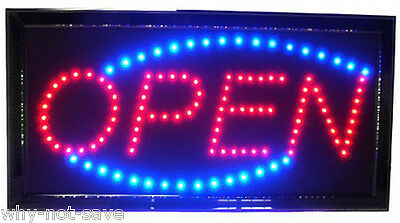 Led Neon Animated Electric Red Blue Oval Open Sign Light For Store Busines Bar