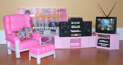 NEW FANCY LIFE DOLL HOUSE FURNITURE Classic Entertainment SET w/TV & Hi-Fi(9510)