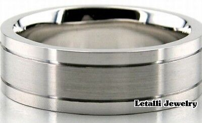 14K WHITE GOLD MENS WEDDING BAND RING  7MM  SIZE 4-13