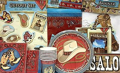 Western Cowboy Cowgirl Themed Table Party Supplies Set 52 pieces - Western Themed Parties