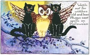 Halloween-Owl-Black-Cat-Watch-Quilt-Block-Multi-Sizes-FrEE-ShiPPinG-WoRld-WiDE