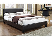 Brown, Modern, King size, Leather Bed, Frame, sprung Ortho, Mattress. modern, king