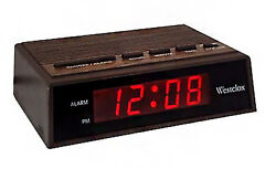 Westclox 0.6 LED Display Snooze Woodgrain Electric Alarm Clock 22690