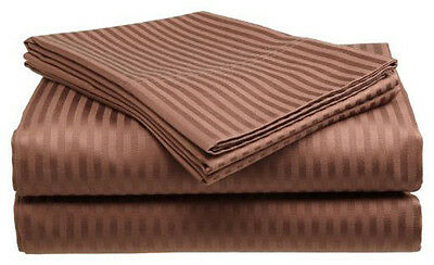 Twin Size Coffee 400 Thread Count 100% Cotton Sateen Dobby Stripe Sheet Set Bedding
