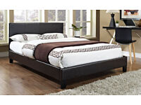 kingsize, leather bed, frame, Thick Ortho mattress. both, bed frame. double. brown, black, modern.