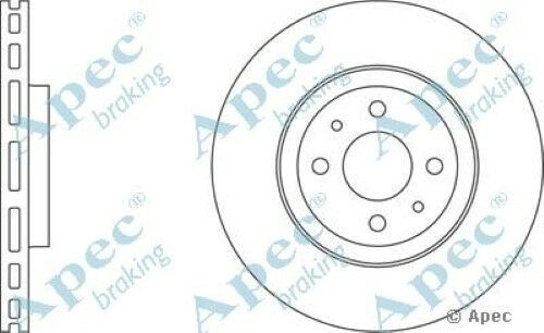 1x OE Quality Replacement Front Axle Apec Vented Brake Disc 4 Stud 284mm Single