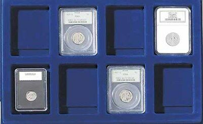 Graded Coins 2 Display Trays Blue Lighthouse for 8 Slabs Fit Aluminum Suitcases  Display-trays