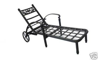 BASSO collection OUTDOOR CAST ALUMINUM CHAISE LOUNGE W/ SUNBRELLA CUSHION Collection Chaise Lounge