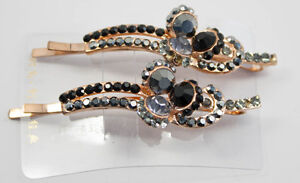 Hair-Pins-Black-and-White-Colored-Jeweled-Pair-NEW