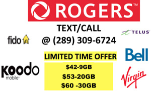 UNLIMITED ROGERS TELUS KOODO CHEAP CELL PHONE PLANS $60-30GB!