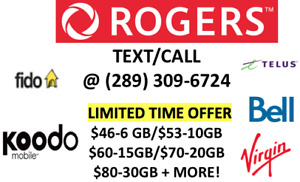 UNLIMITED ROGERS TELUS KOODO CHEAP CELL PHONE PLANS $80-30GB!