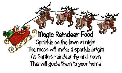 Magic Reindeer Food Stickers x 42 - Design #3 - Santa Sleigh Reindeer design