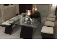 ROCHE BOBOIS Origami Glas Dinning Table PLUS pair of benches