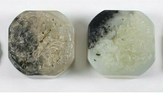 pair of chinese carved jade seals dragon
