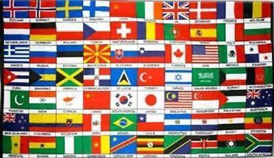 Fahne Flagge 70 Länder der Welt 90 x 150 cm ()