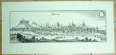 Quedlinburg: alte Ansicht Merian Druck Stich 1650 Panor