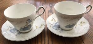 Pair Vintage Argyle Bone China Silver Wedding Tea Cup & Saucer