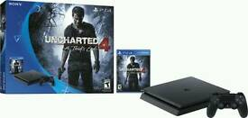 NEW & SEALED SONY PLAYSTATION 4 PS4 500GB SLIM CONSOLE BLACK UNCHARTED 4 BUNDLE BRAND NEW