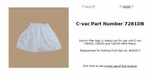 C-vac Part Number 7281DB Dacron filter bag w/ elastic top