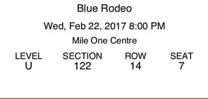 2 Blue Rodeo Tickets