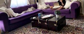 Stunning L shaped velvet sofa