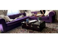 Stunning L shaped velvet sofa
