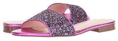 NIB! Kate Spade Madeline Purple Glitter Fuchsia Leather Sandals Sz 7 Org $150.00