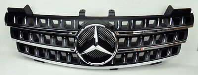 3 Fin Front Hood Black Chrome Grill Grille for Mercedes ML Class W164 05-08