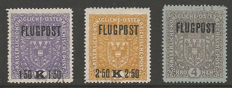 AUSTRIA SG296A/8A 1918 AIR SET GREYISH PAPER FINE USED