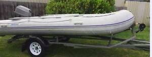 Inflatable rubber dinghy with 25 HP motor and new tilt trailer Newport Hobsons Bay Area Preview