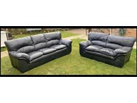 Black 2&3 seater leather sofas can be delivered