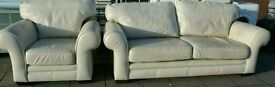 Next cream leather sofa set
