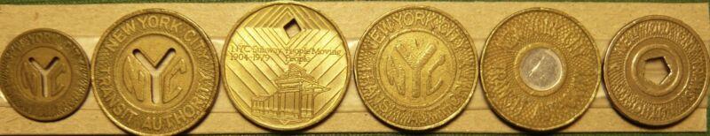 Six (6) NYC New York City Transit Authority Subway Tokens