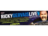 2 tickets for Ricky Gervais Humanity SECC Clyde Auditorium, Glasgow - Tuesday 2nd May