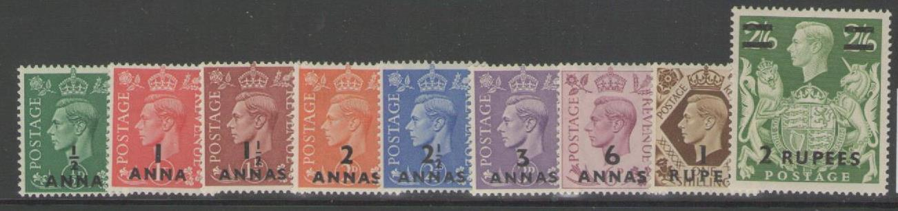 BPA IN EASTERN ARABIA SG16/24 1948 DEFINITIVE SET MTD MINT