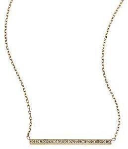 MICHAEL KORS Gold-Plated Long Bar Necklace w/Crystals. BRAND NEW